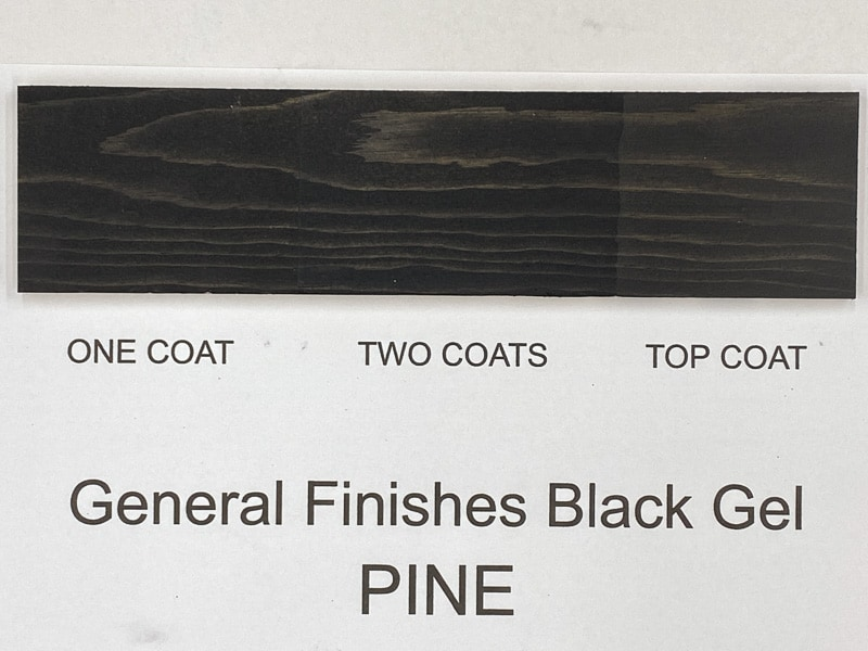 General Finishes black gel stain on pine