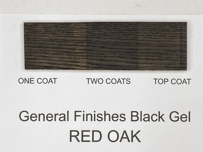 General Finishes black gel stain on red oak