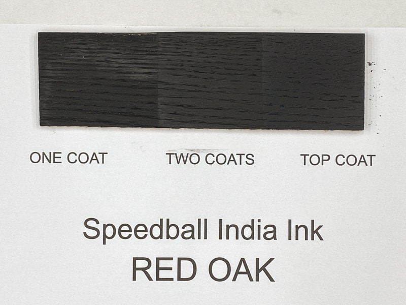 Speedball India Ink on red oak