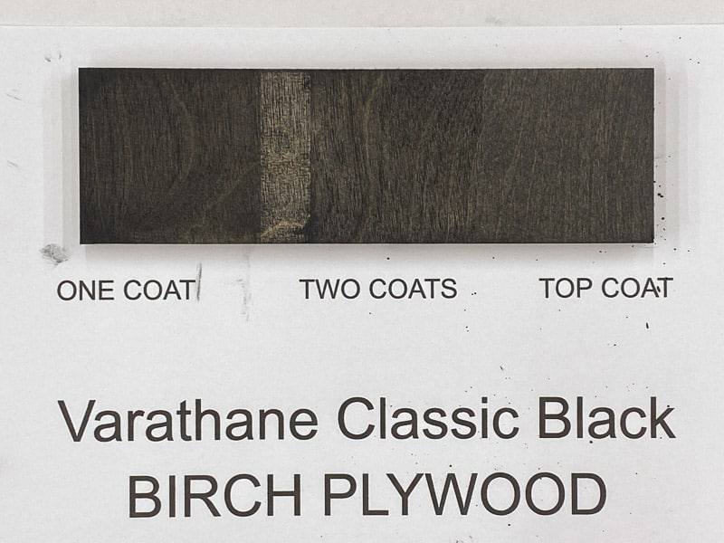 Varathane Classic Black wood stain on birch plywood