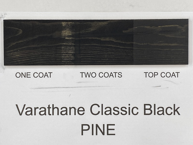 Varathane Classic Black wood stain on pine