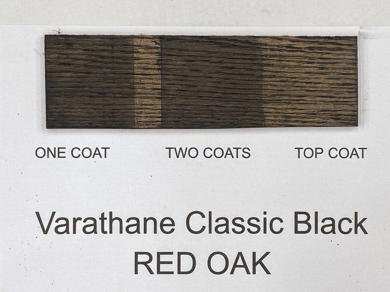 Varathane Classic Black wood stain on red oak
