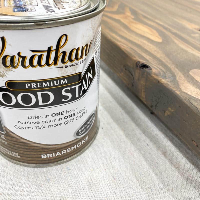 Varathane Briarsmoke stain on pine wood