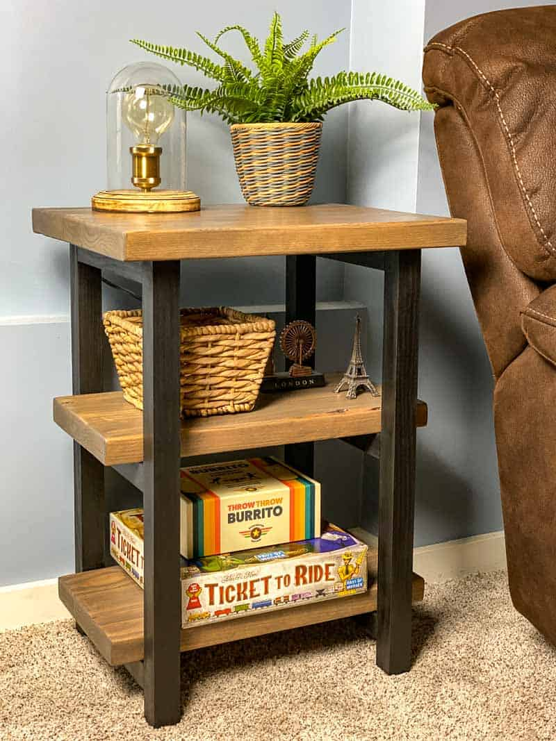 DIY rustic end table next to brown couch