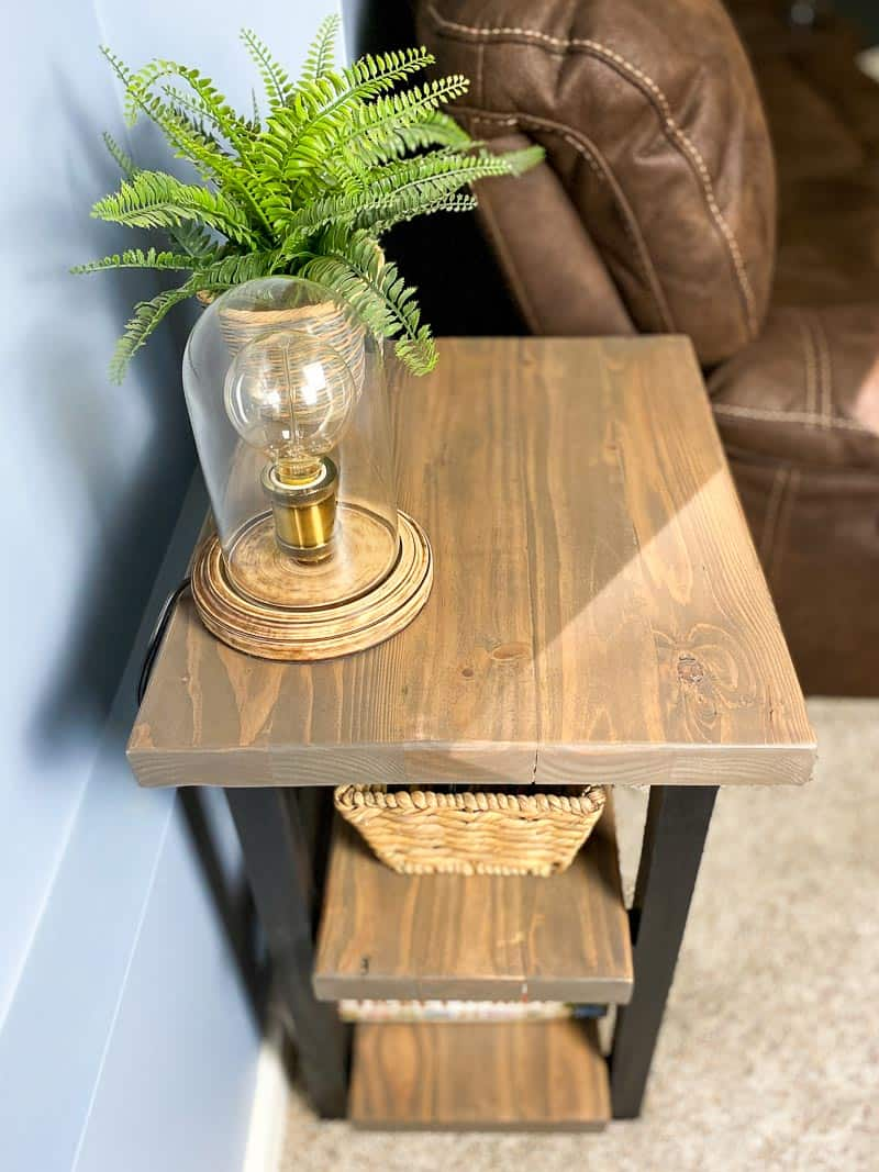 2x4 end table with rustic reclaimed wood
