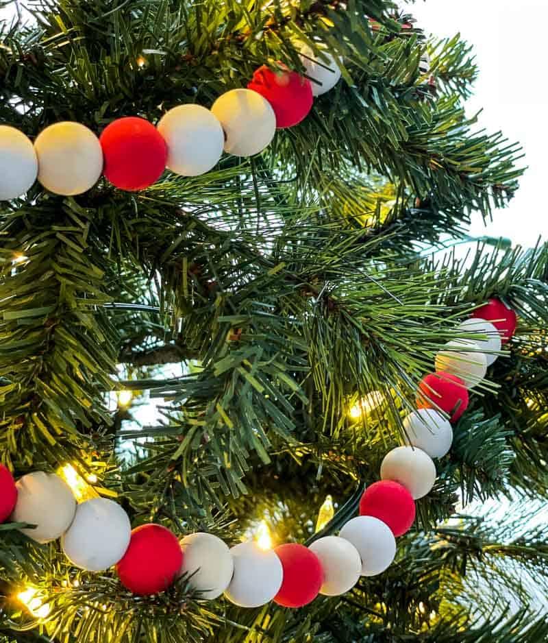 wood bead Christmas garland