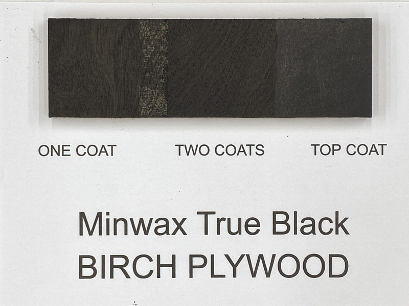 Minwax True Black wood stain on birch plywood