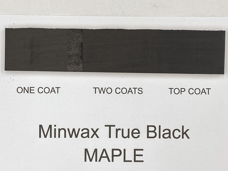 Minwax True Black wood stain on maple