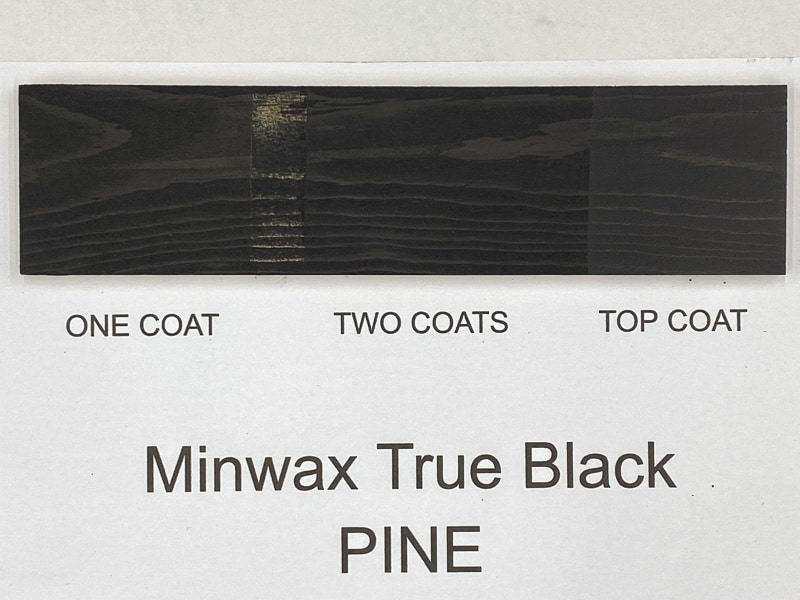 Minwax True Black wood stain on Pine