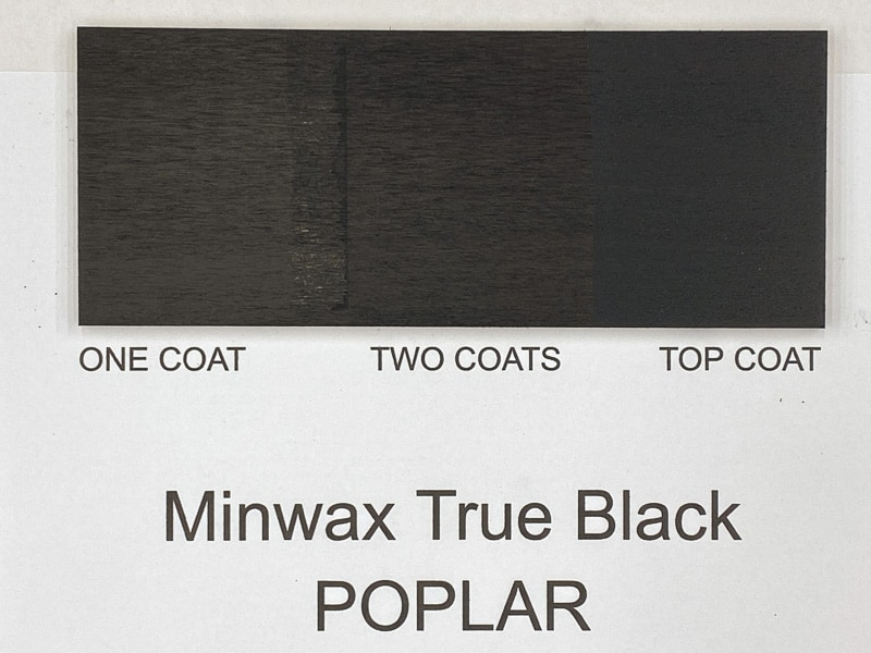 Minwax True Black wood stain on poplar