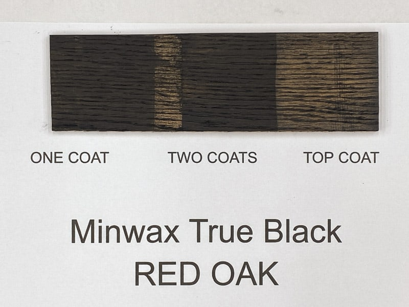 Minwax True Black wood stain on red oak