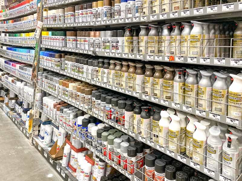 spray paint aisle at Home Depot