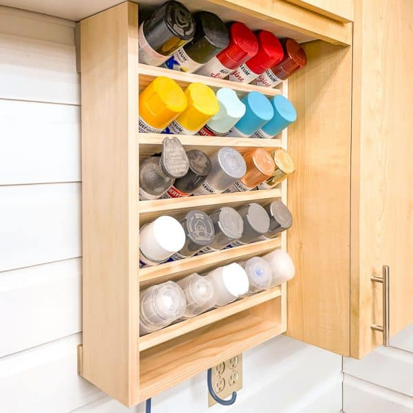 spray paint storage rack with space for 25 cans
