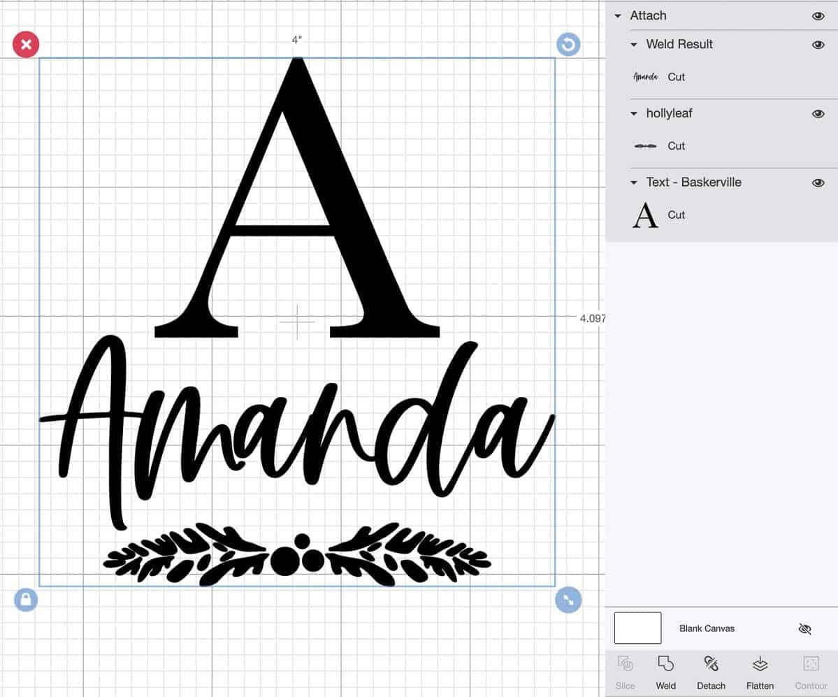 creating the stencil for stocking holder in Cricut software