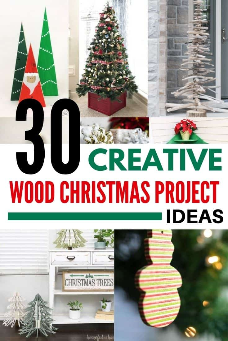 30 creative DIY wooden Christmas decorations with collage of project ideas