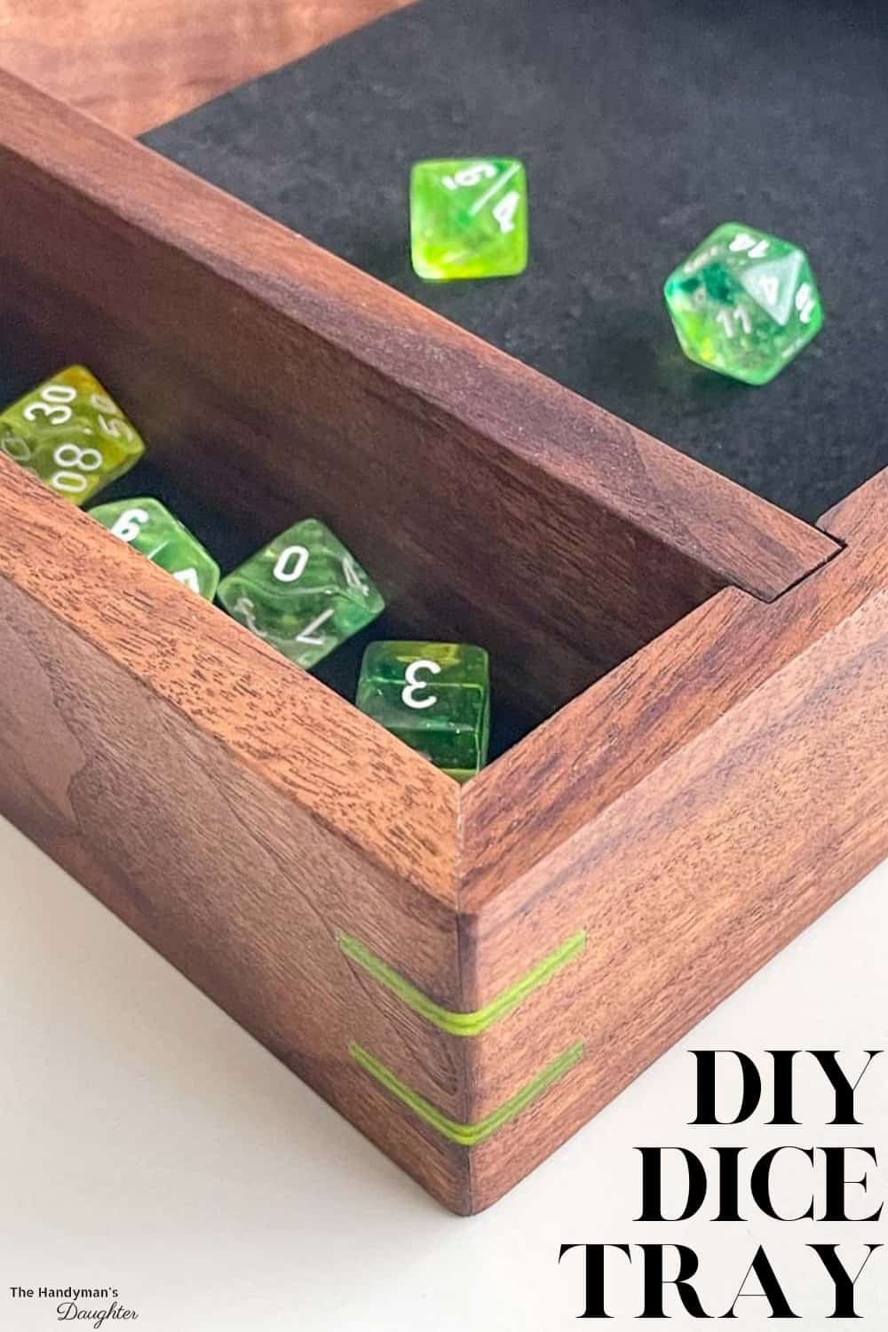 corner view of DIY dice tray with text overlay