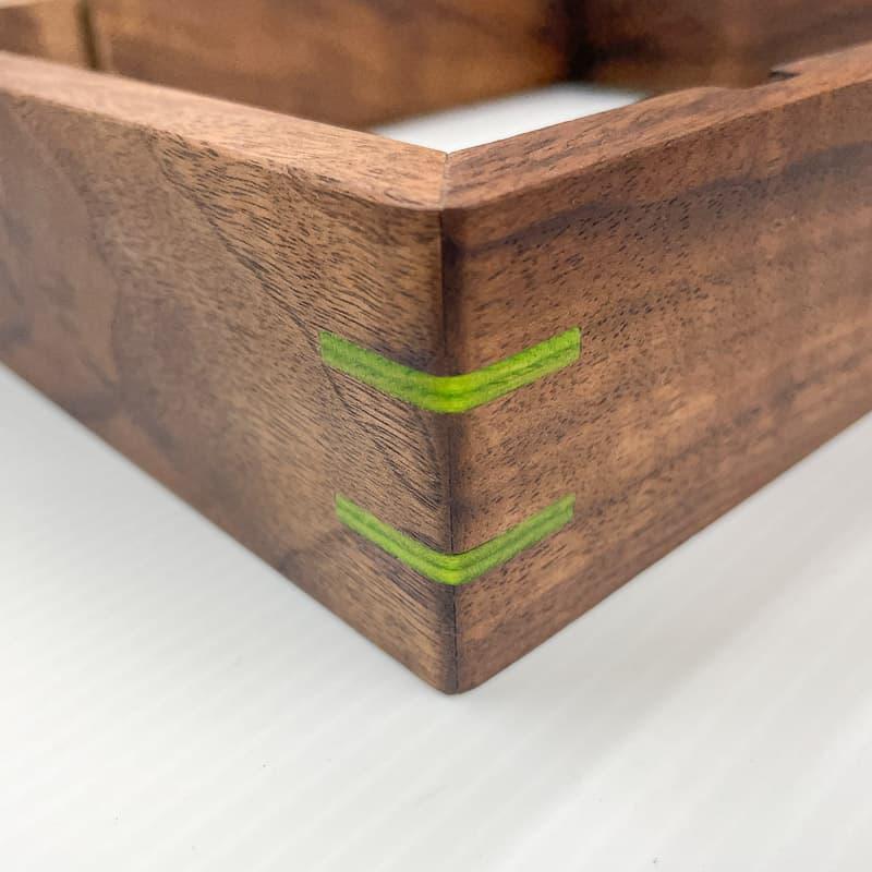oil finish applied to walnut dice tray