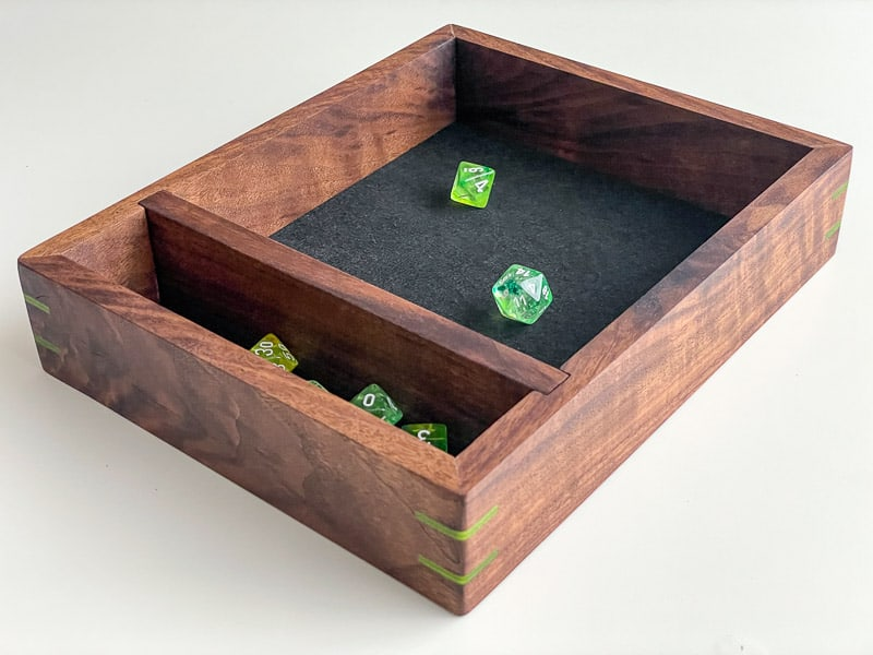 DnD Dice Tray with walnut frame and green dice