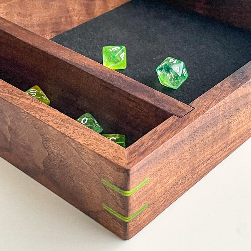 DIY dice tray with green DnD dice
