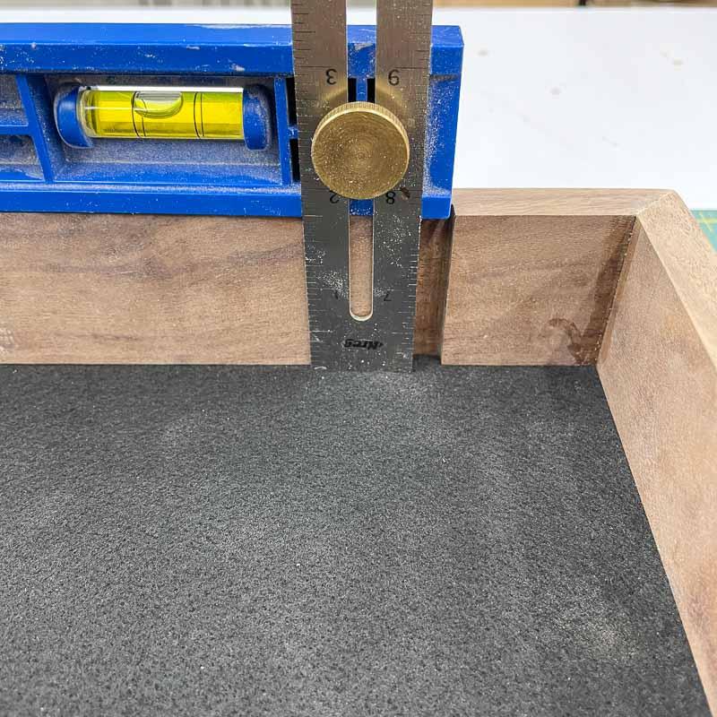 measuring inside depth of dice tray for divider