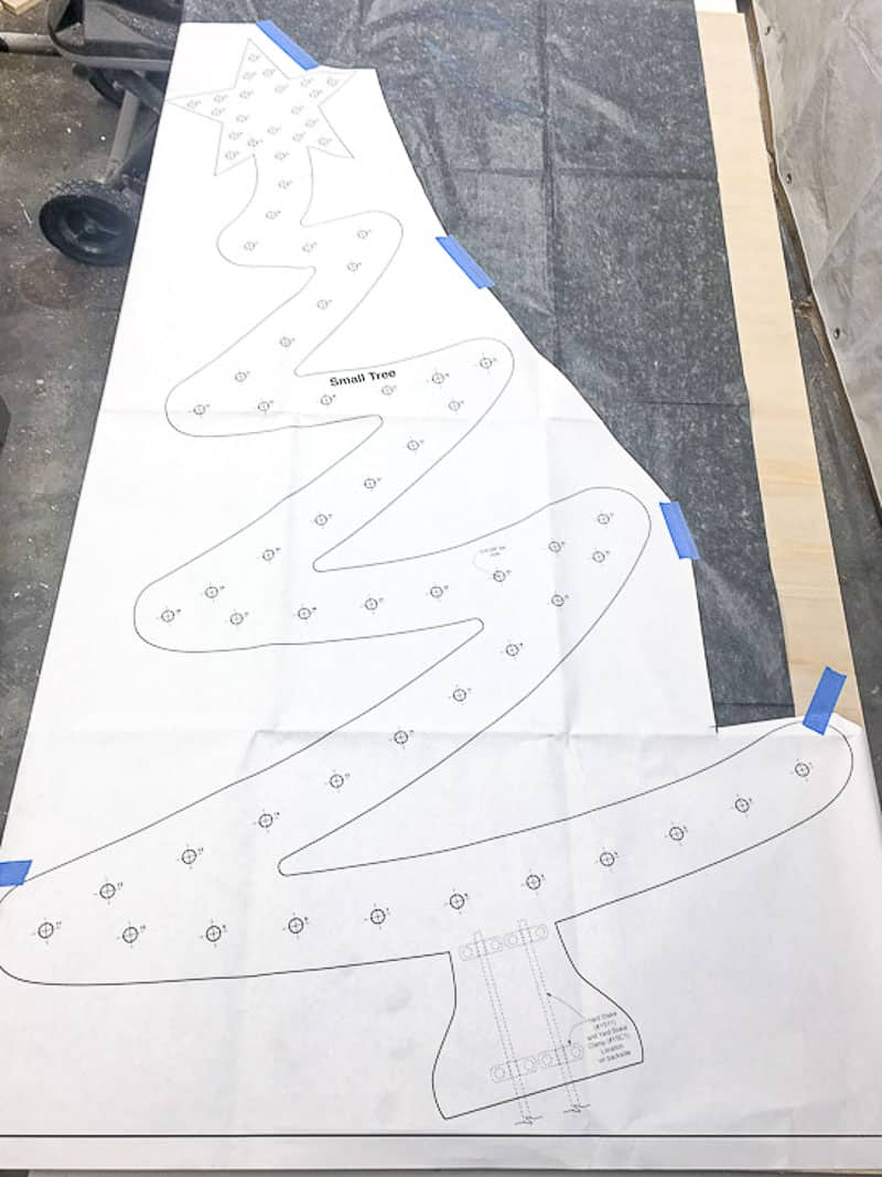 DIY wooden Christmas tree template on carbon tracing paper