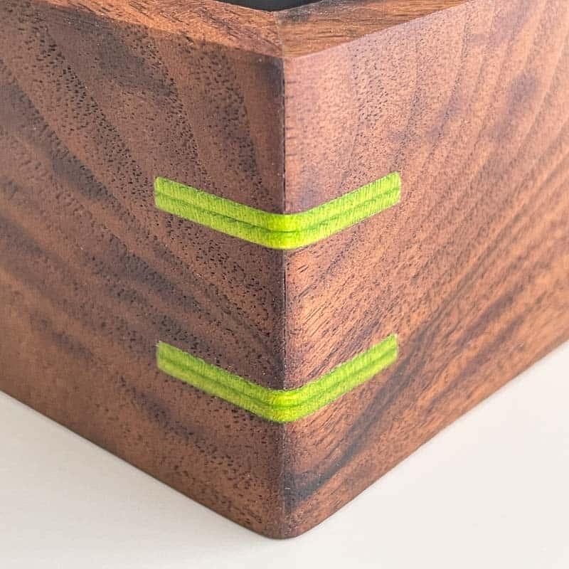 green splines in mitered corner
