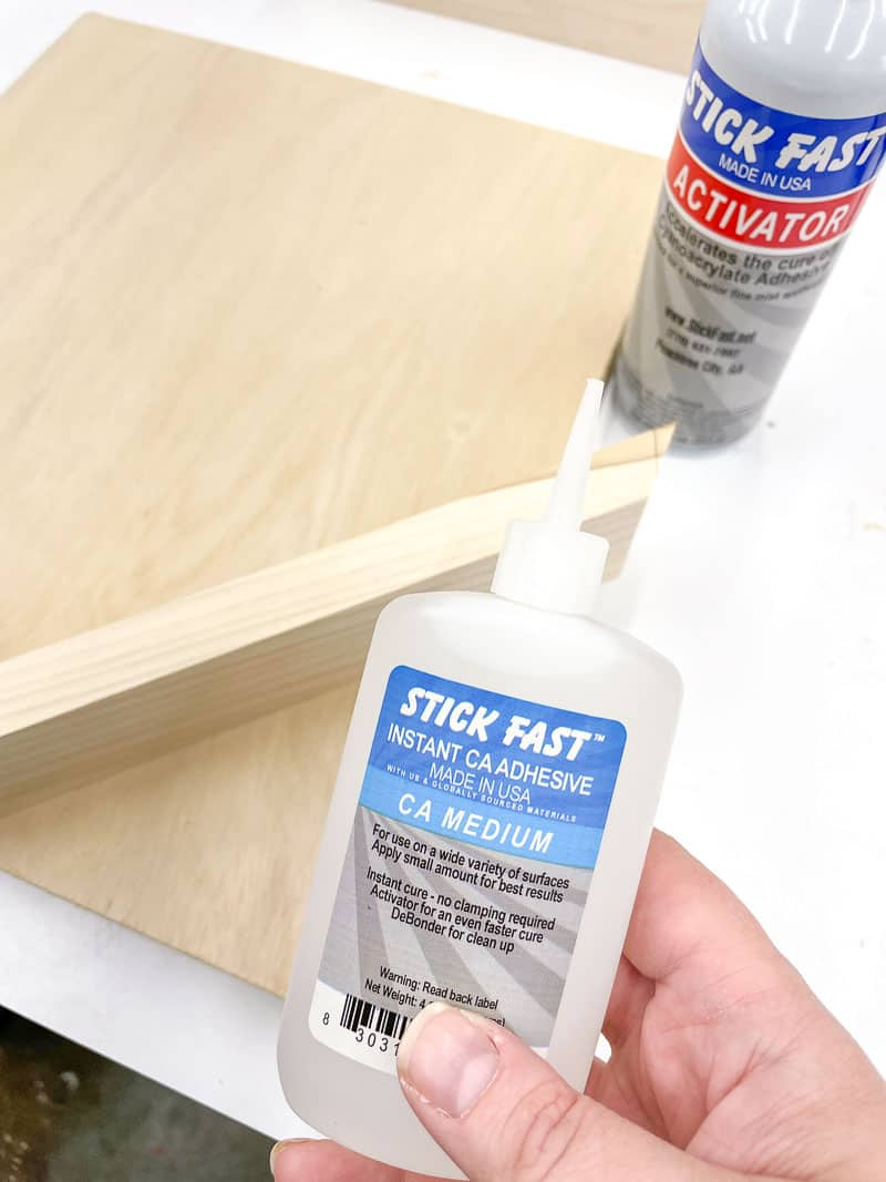 CA glue used to hold the spline jig supports to the backer board