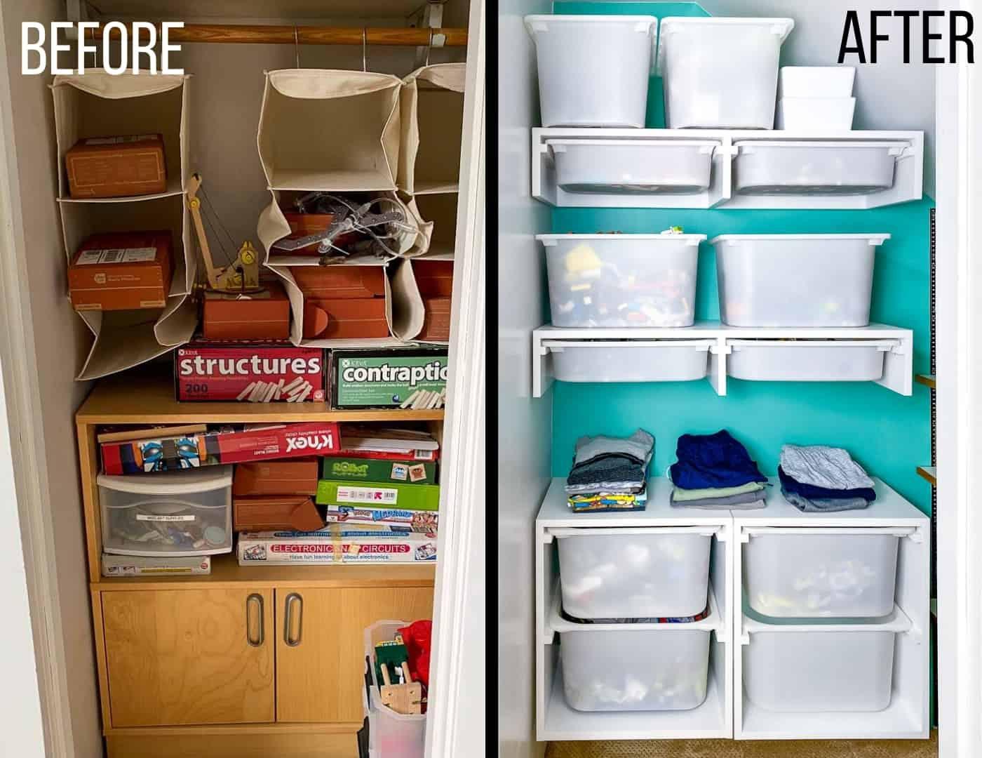 DIY closet organizer before and after