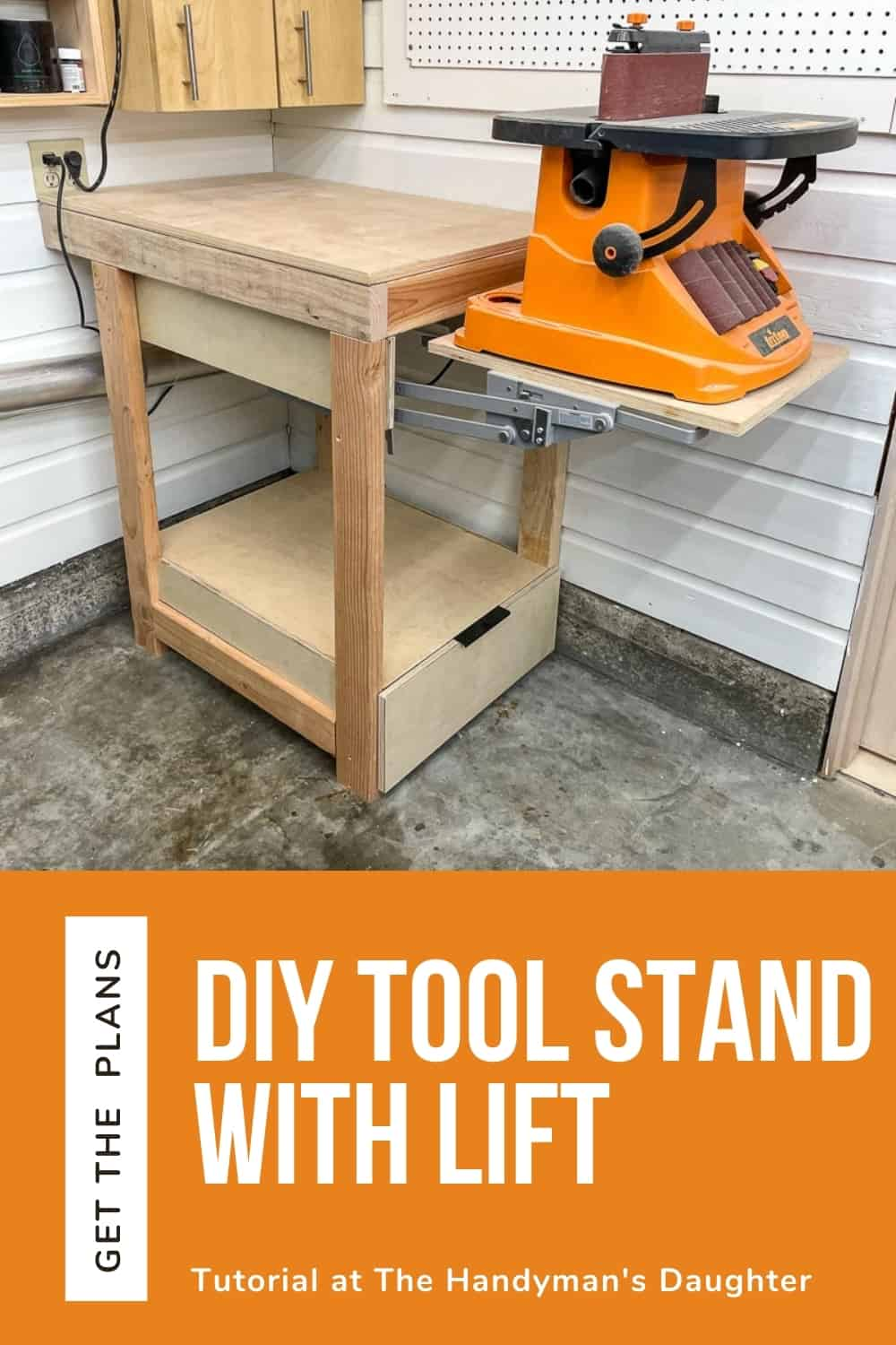 DIY Tool Stand with Lift - Plans and Tutorial by The Handyman's Daughter