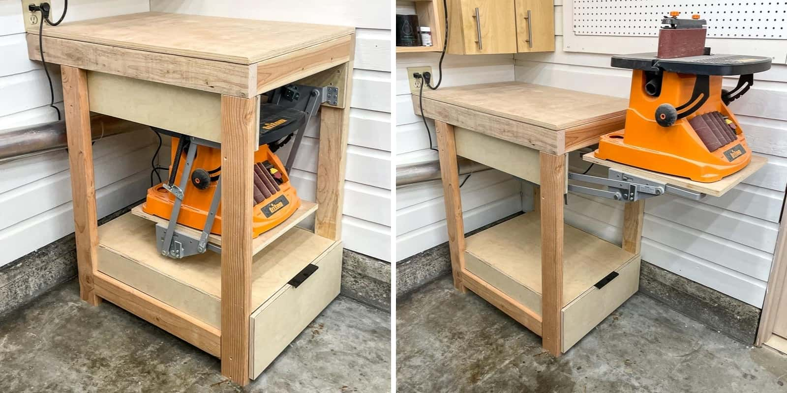 tool stand lift in up and down positions