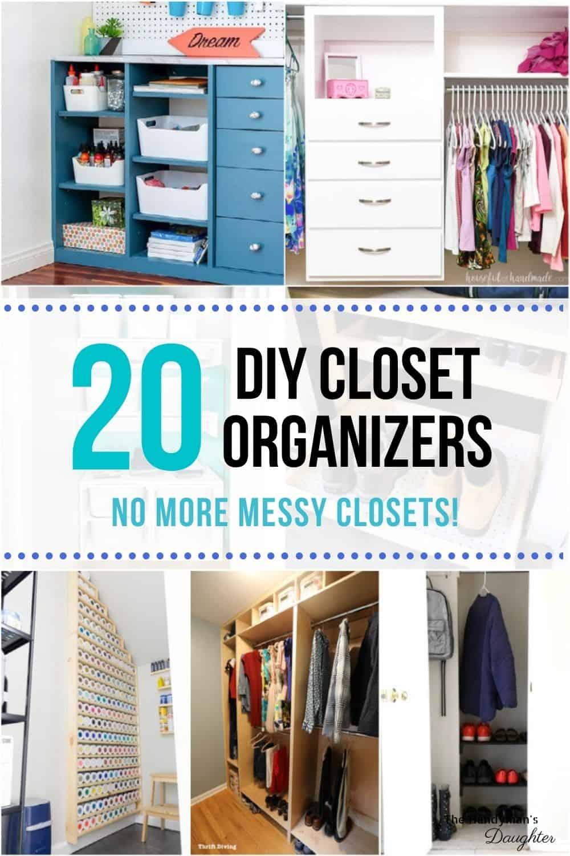 collage of DIY closet organizers
