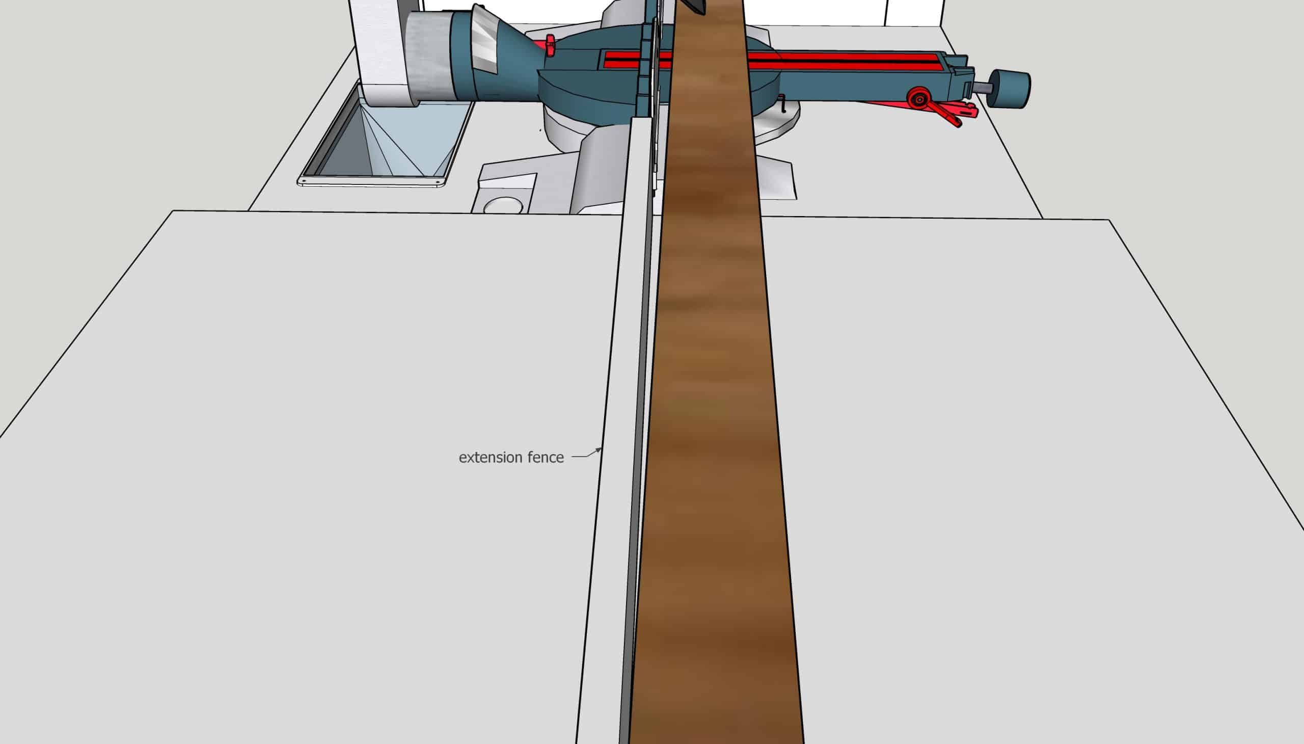 illustration of miter saw extension fence causing board to be cut incorrectly