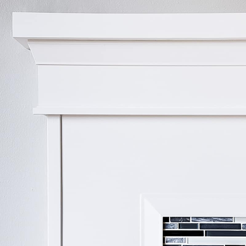 fireplace trim under mantel and around tile