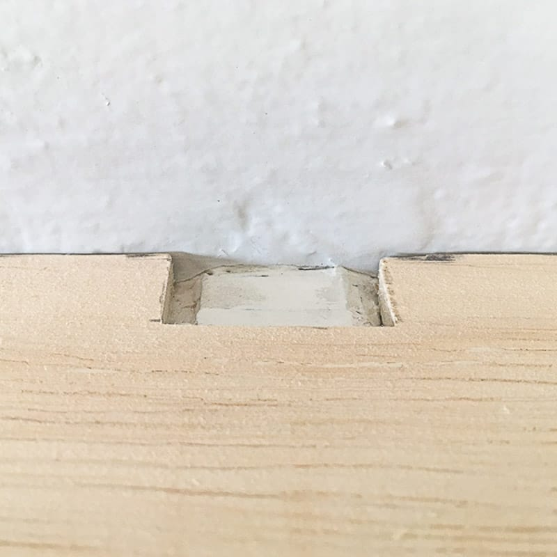 "¼"" plywood with notch cut out for mantel bracket"