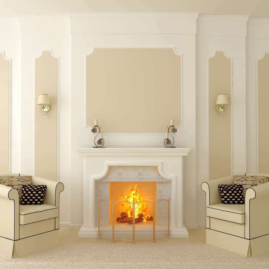 fireplace trim with repeating design