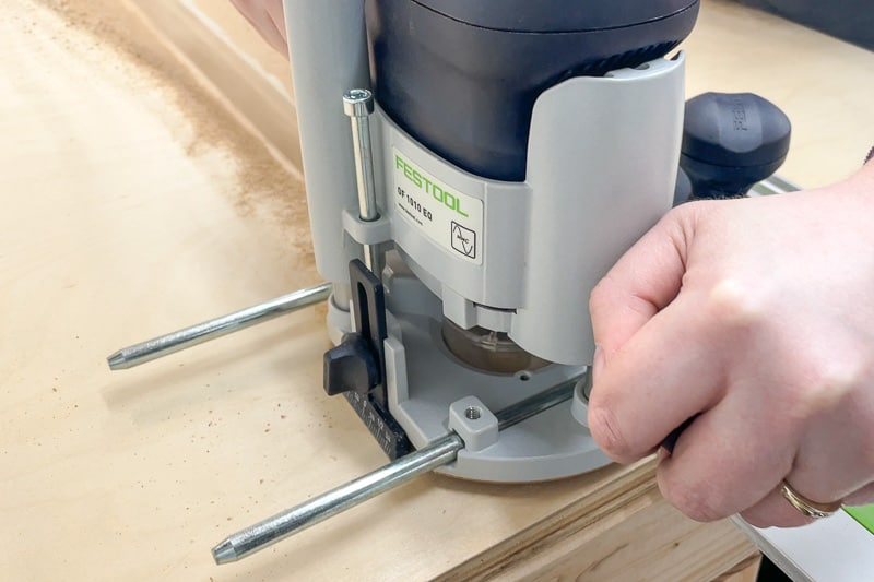 cutting groove for t track in miter saw stand top with a router