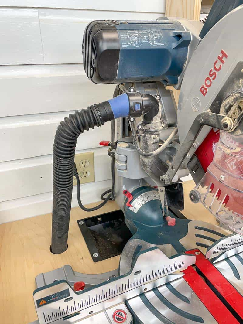 dust collection on miter saw station