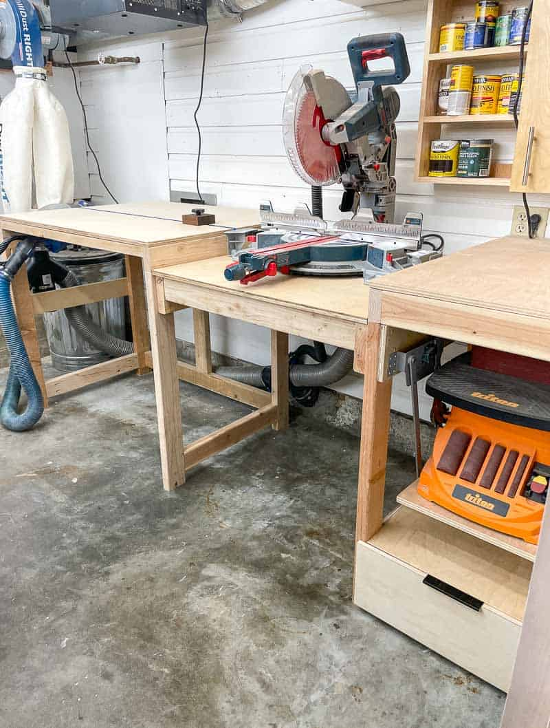 miter saw station with dust collector