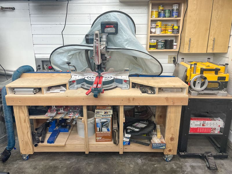 old miter saw stand with dust hood
