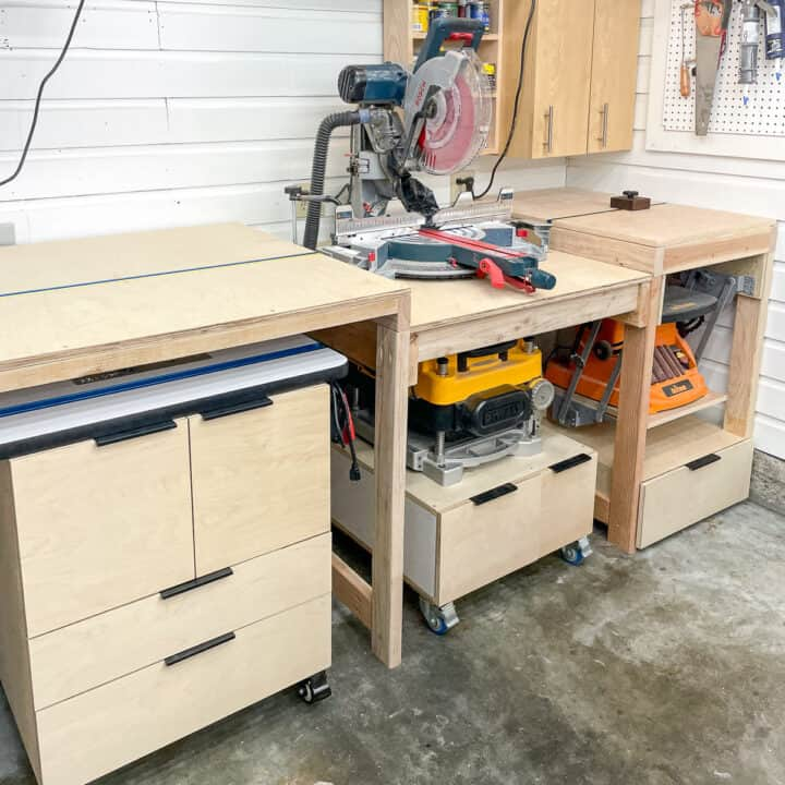 DIY miter saw station with router table, planer and sander underneath