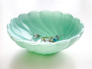 spray painted glass dish