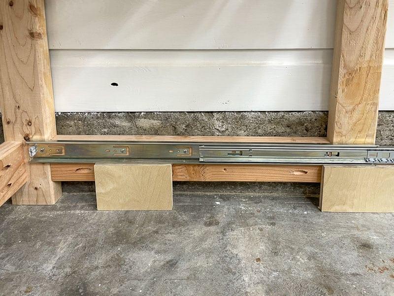 drawer slides installed on inside of tool stand frame