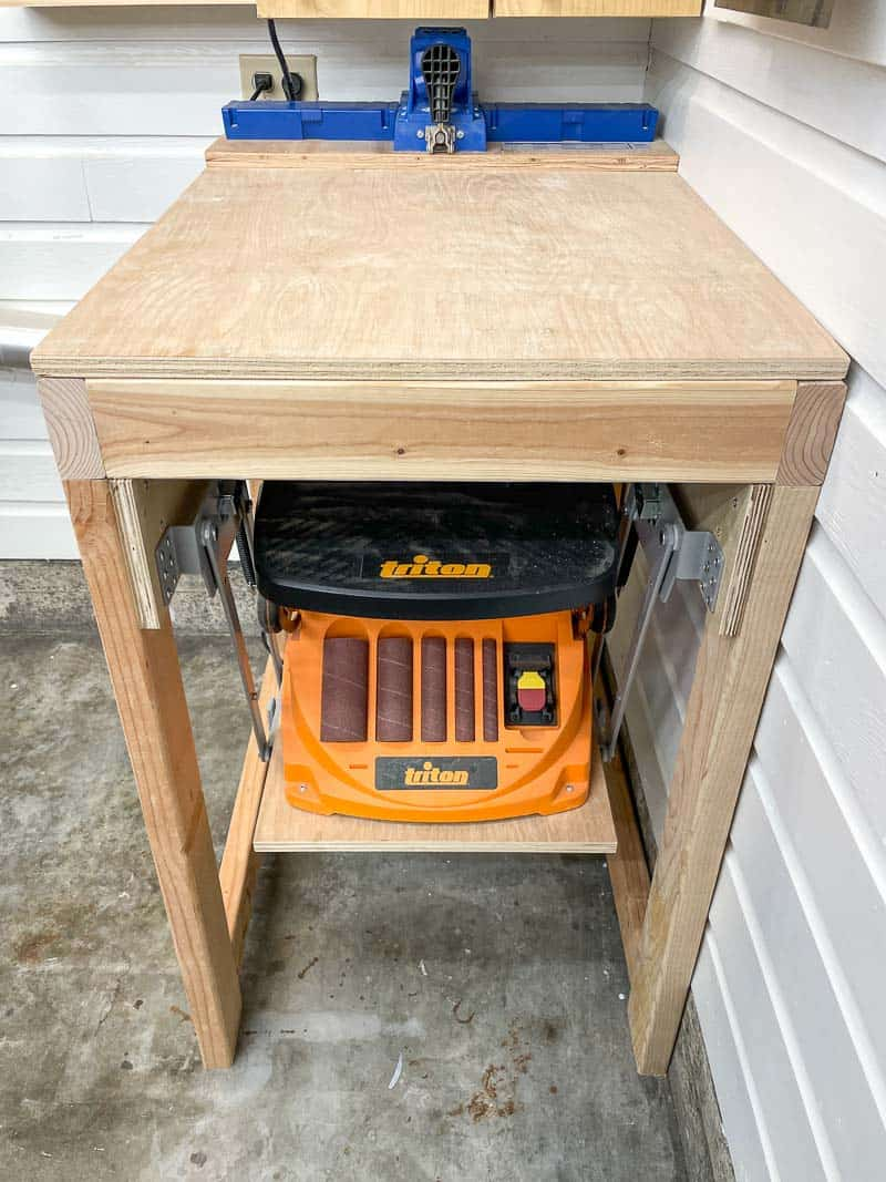 tool stand with mixer lift for sander