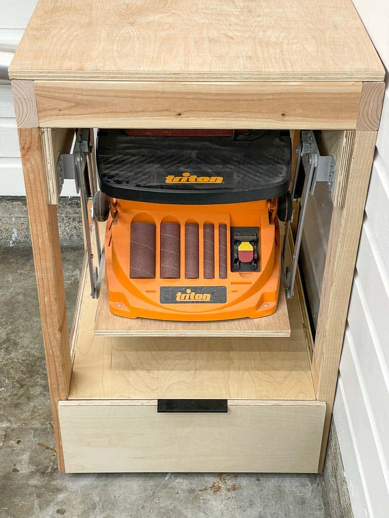 DIY tool stand with mixer lift for sander and drawer underneath