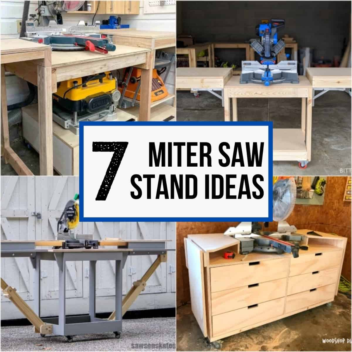 7 miter saw stand ideas collage