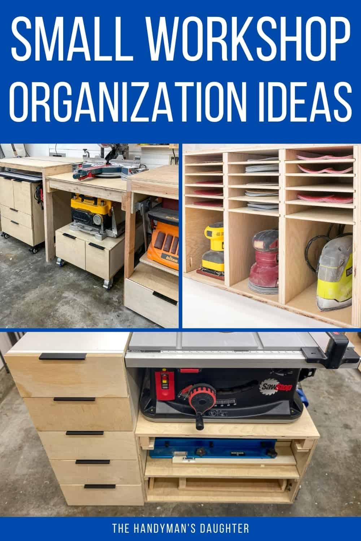 small workshop organization ideas collage