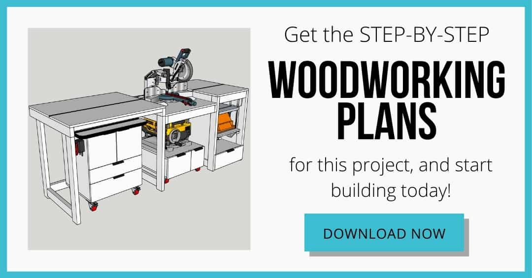 download box for woodworking plans for miter saw station with router table, planer stand and tool stand with lift