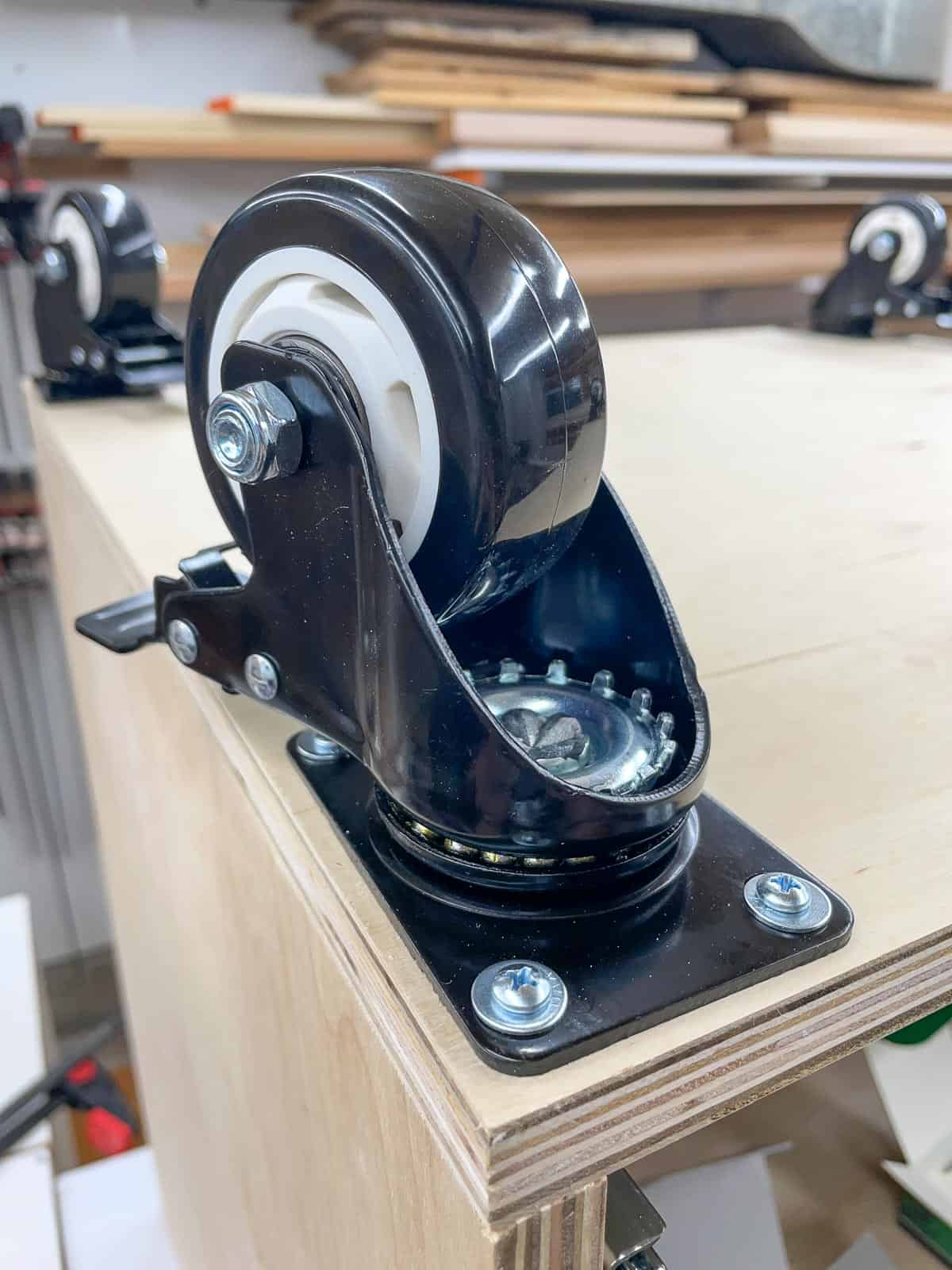 locking casters installed on router table bottom