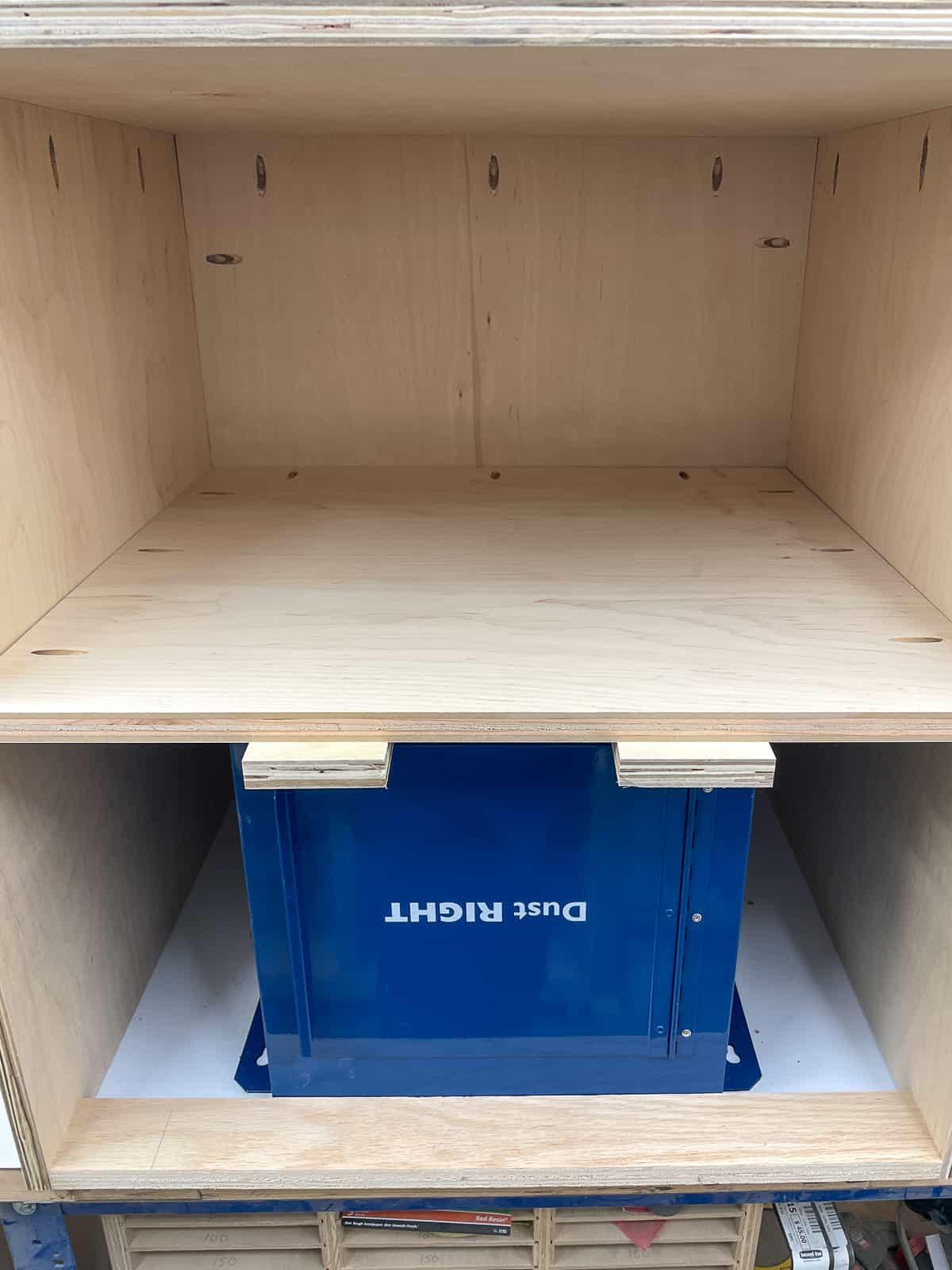 installing router table cabinet shelf below the dust bucket