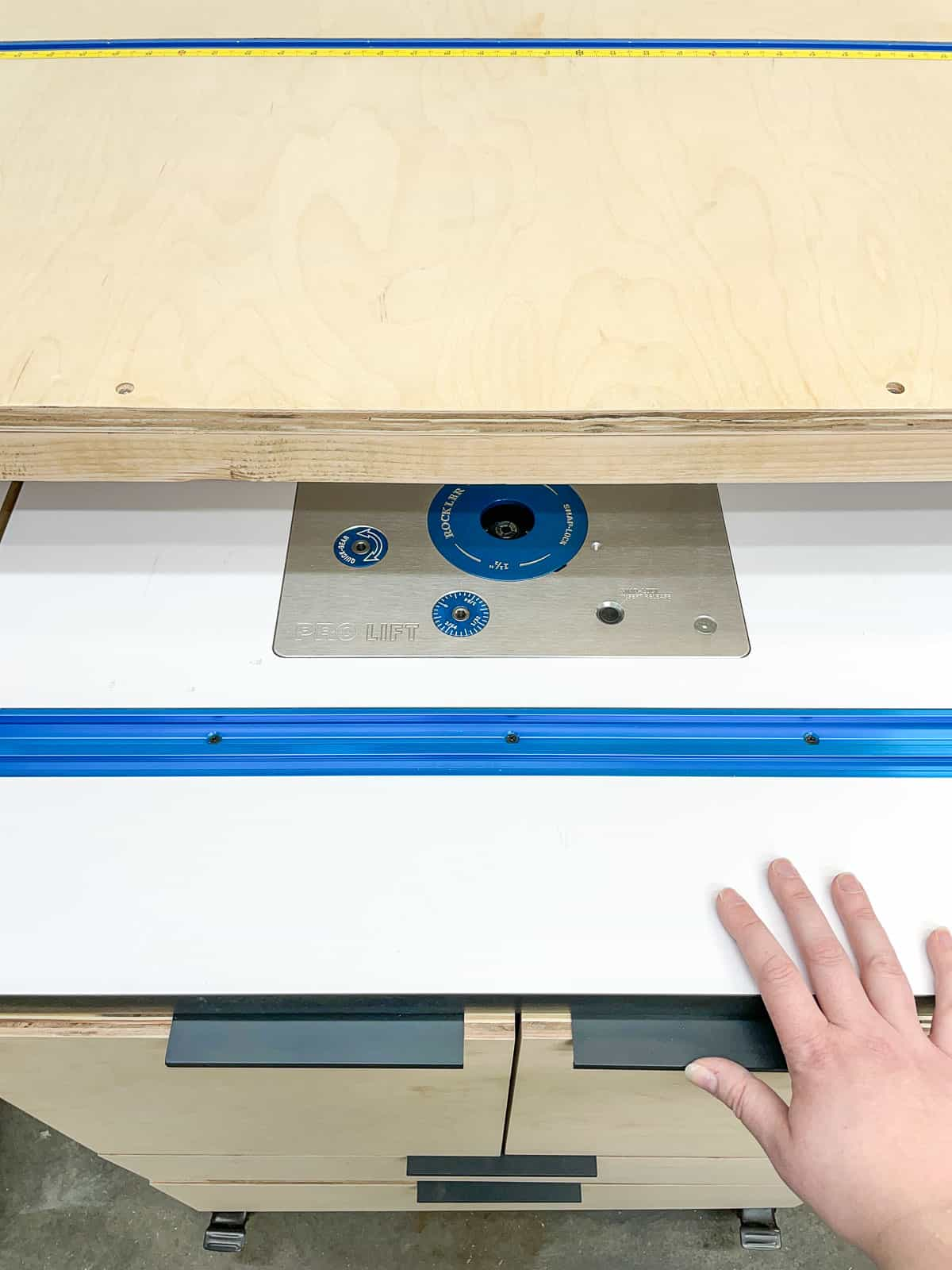 DIY router table rolling under workbench
